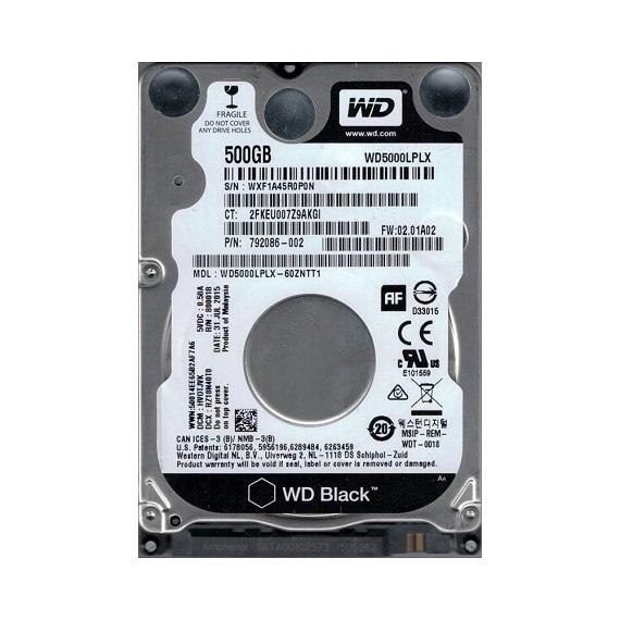 Ổ cứng HDD Notebook Western Digital WD 500GB 7200rpm (WD5000LPLX) (Đen) 2.5 inch Sata 3